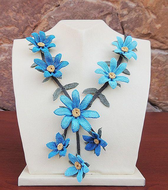"Authentic Anatolian Needle Lace Pure Silk ""Ellere Benzeme"" Necklace"
