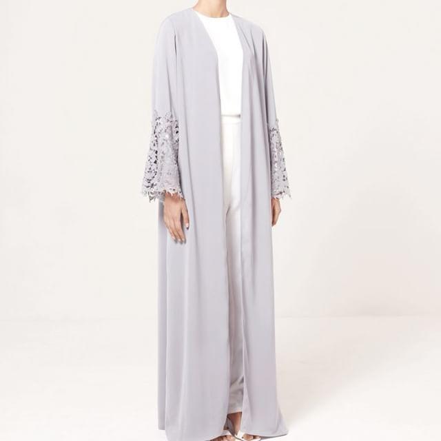 Eid 2017 New Arrivals  Lilac Grey Kimono with Lace  www.inayah.co