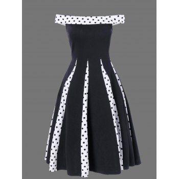 Polka Dot Trim Fit and Flare Dress