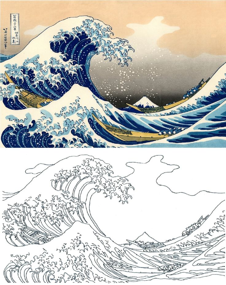 Katsushika Hokusai Coloring Pages Coloring The great