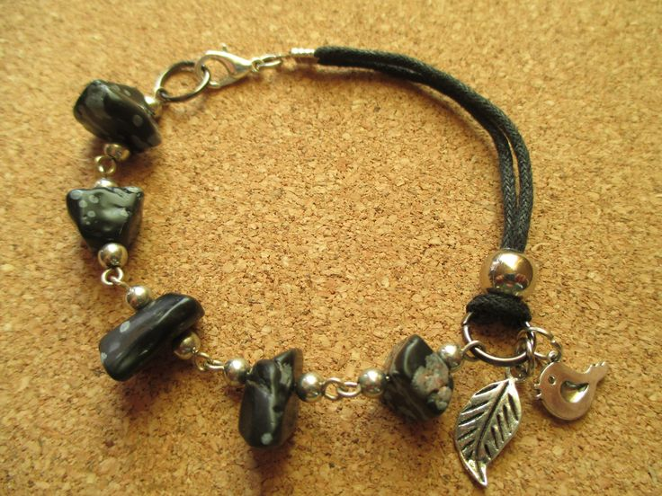 Handmade bracelet of snowflake obsidian stone which helps you to be focused and removes negativity from people or places.