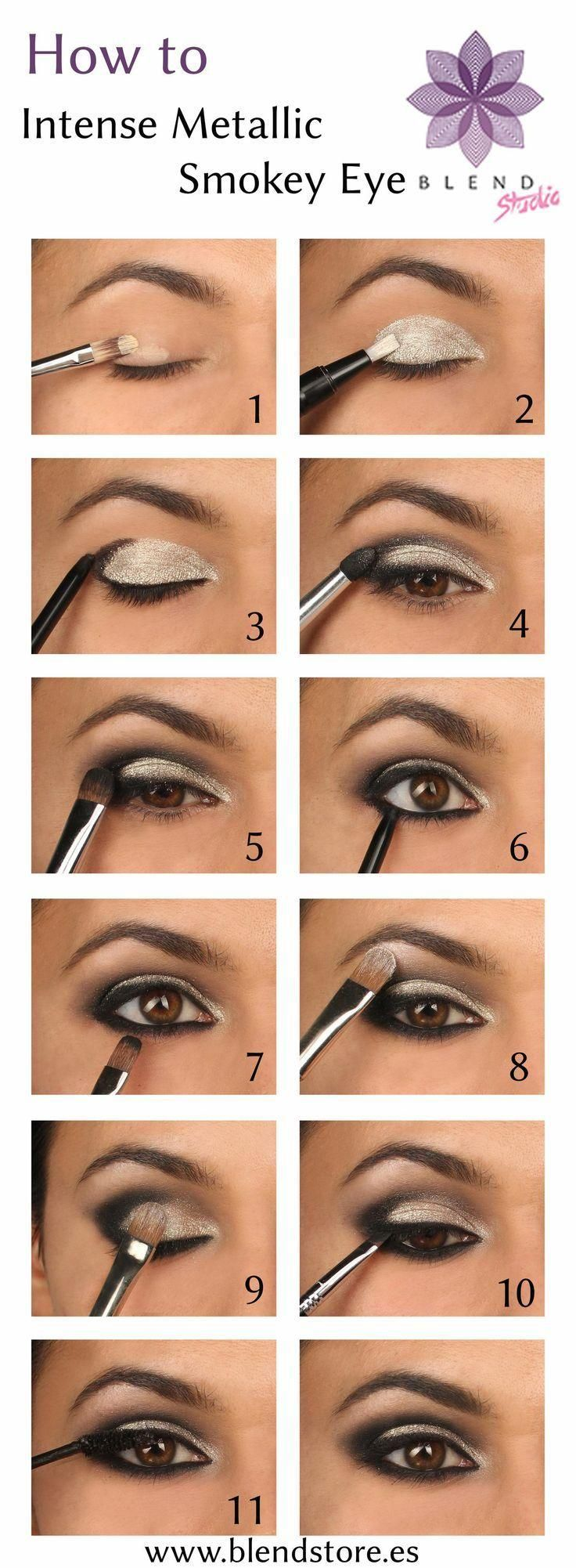 how to Metallic smokey eyes step by step