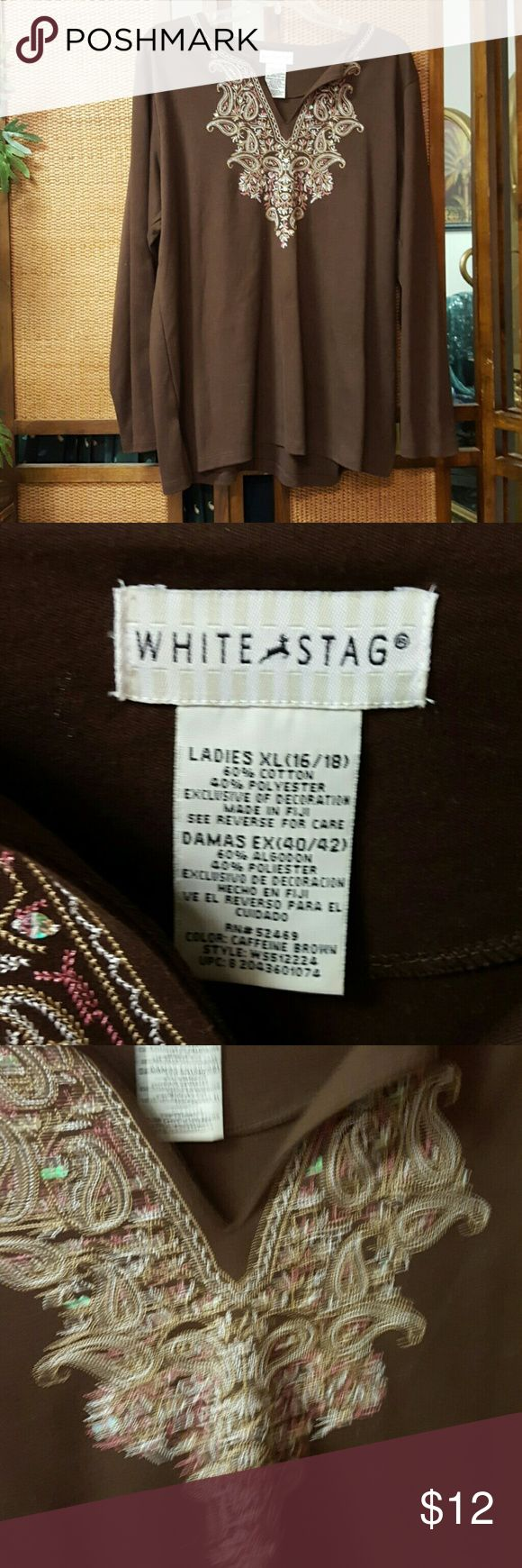 Brown Embellished Shirt Great used condition. Brown with pink & beige embroidery and irridescent details White Stag Tops Tees - Long Sleeve