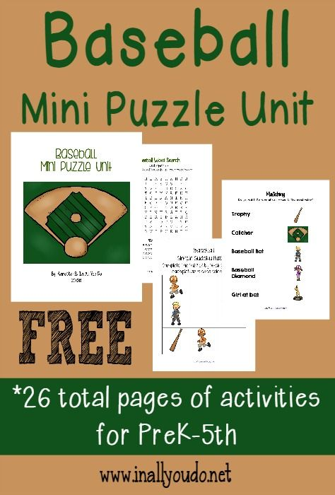 This fun Baseball Mini Puzzle Unit has activities for PreK-5th grade. Includes Crosswords, Word Searches, Word Scrambles, Matching and MORE!! :: www.inallyoudo.net