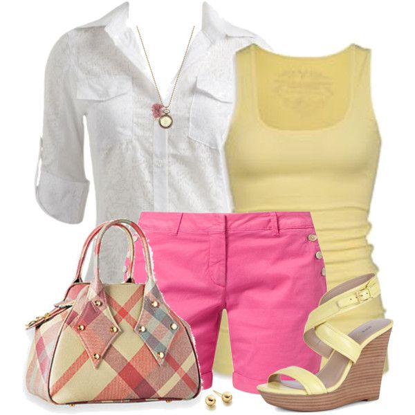 Bright Shorts & Pattern Bag, created by daiscat on Polyvore
