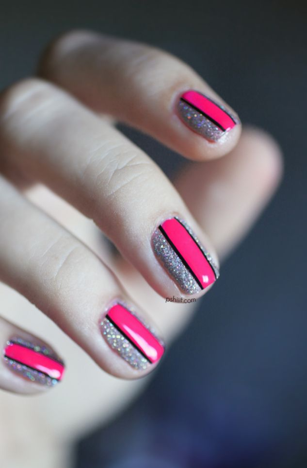 hot pink stripes on silver nails