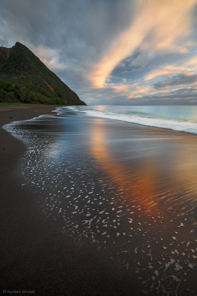 ~~Sky Hook ~ Sunrise over a black beach in New Caledonia, South Pacific by Karsten Wrobel~~