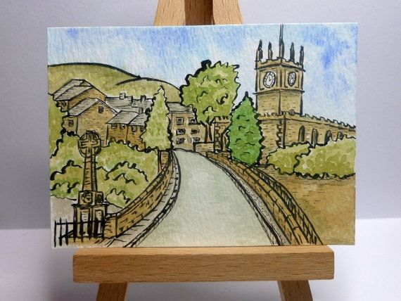 An original ink and watercolour painting of Hayfield in the High Peak of Derbyshire, England.  It is ACEO size - 6.4cm x 8.9cm (2.5 x 3.5).  I