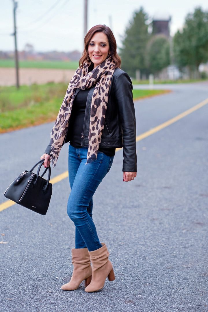 Leopard scarf outfit fashion for women over pinterest jpg 720x1080 Ootd  with leopard booties 58b87a85f