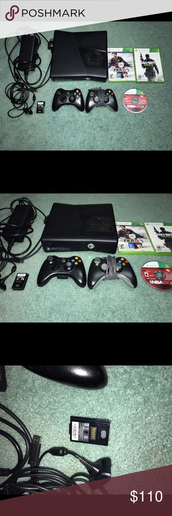 Xbox 360 with extra controller and 3 games This is an Xbox 360 used in great condition without a box. It comes with everything in the picture: all the wires and the console, 2 controllers, an extra external battery with charger for the controller, 3 games which are NBA 2k14, MW3, and Fifa 14. This is a Great Deal so catch it fast!! Microsoft Other