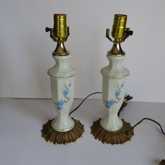 Cream Porcelain with Blue Flowers Pair Of Vanity Bedside Lamps