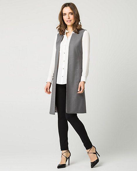 Viscose Blend Raised Collar Long Vest – Make a statement in a long vest designed…