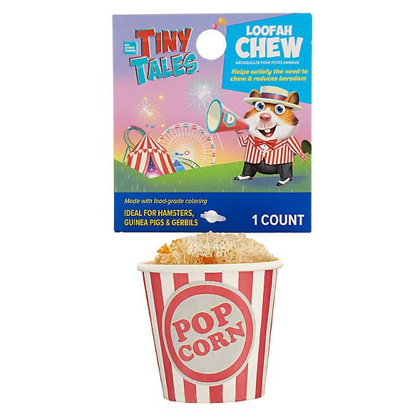 All Living Things Tiny Tales Popcorn Small Pet Loofah Chew Small Pets Pet Toys Pets