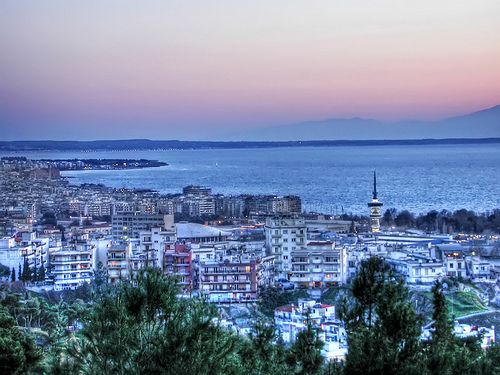 Sun setting on Thessaloniki
