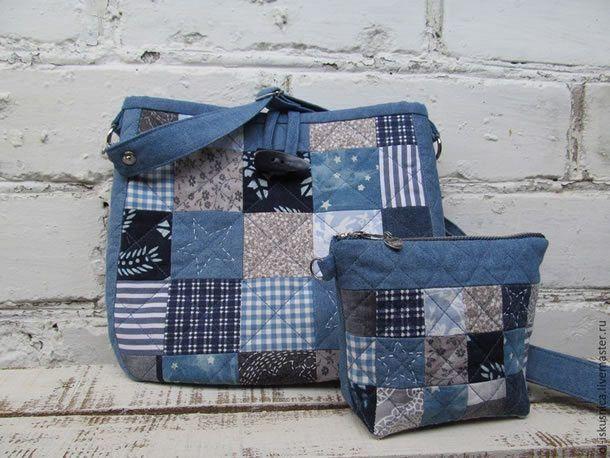 http://artesanatobrasil.net/20-modelos-de-bolsas-com-moldes-e-passo-a-passo/- Bolsa em patchwork com blocos em azul