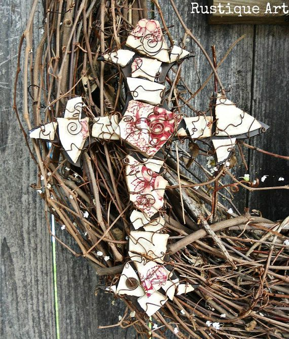 Vintage China Mosaic on Fleur de Lis Wall Cross by rustiqueart,