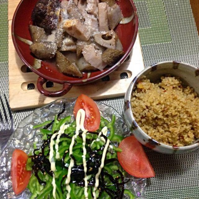数日前に外食した牛すね肉と根菜煮込みを真似てみた。ちょっと薄味だった〜 - 16件のもぐもぐ - 牛すね肉と根菜煮込み、雑穀、ピーマンサラダ by chacoken
