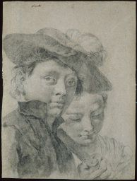 Giovanni Battista Piazzetta  Italian, 1682-1754, A Young Boy Wearing a Plumed Hat, and a Young Girl