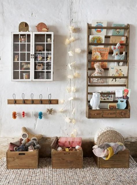 vintage kids room with shelf space to keep toys and books organized in a modern way