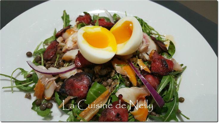 Salade de Lentilles, Roquette, Haddock, Oeuf mollet et Chorizo croquant