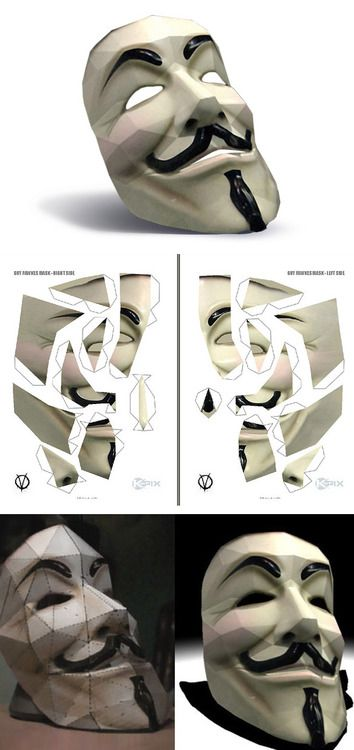 Make your own V for Vendetta / Anonymous Papercraft Mask.