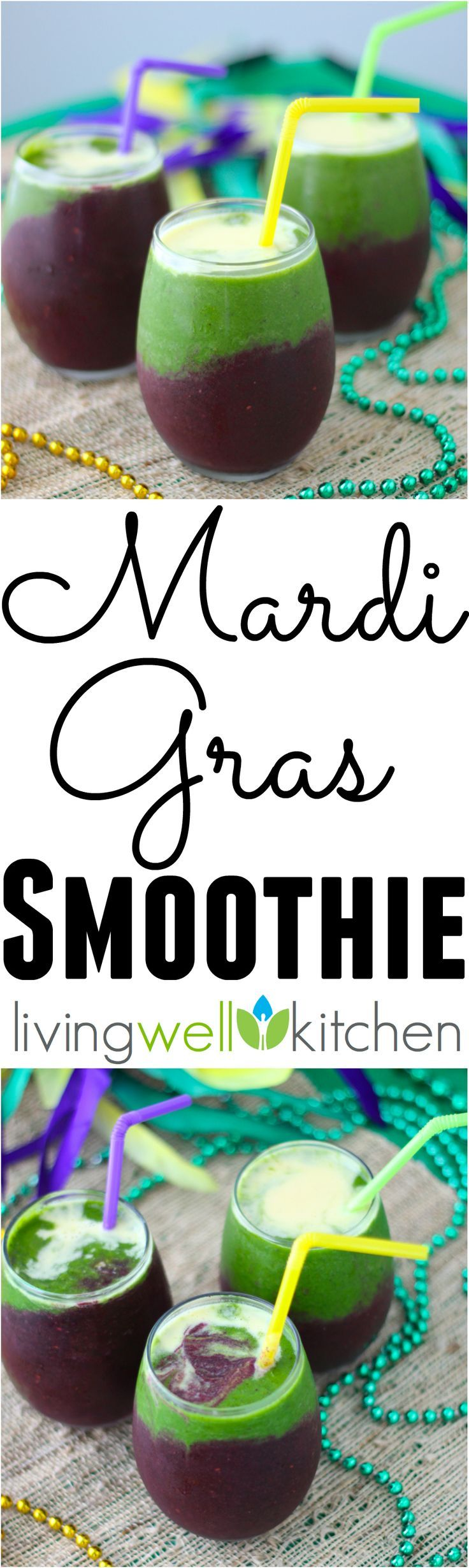 Festive, boozy Mardi Gras Smoothie recipe from @memeinge is a tasty on-the-go option for getting in your fruits & veggies while watching the parades roll by. Great idea for adults and kids (alcohol free option included) to celebrate the Mardi Gras season