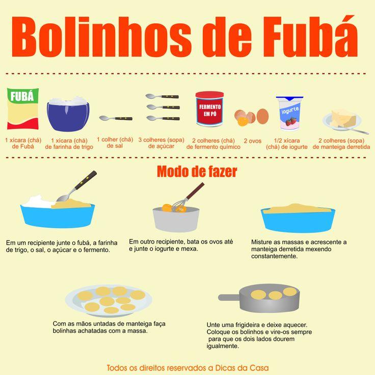 Receita Bolinhos de Fubá Frito.  Veja mais em nosso blog: http://dicasdacasa.com/bolinhos-de-fuba-frito/