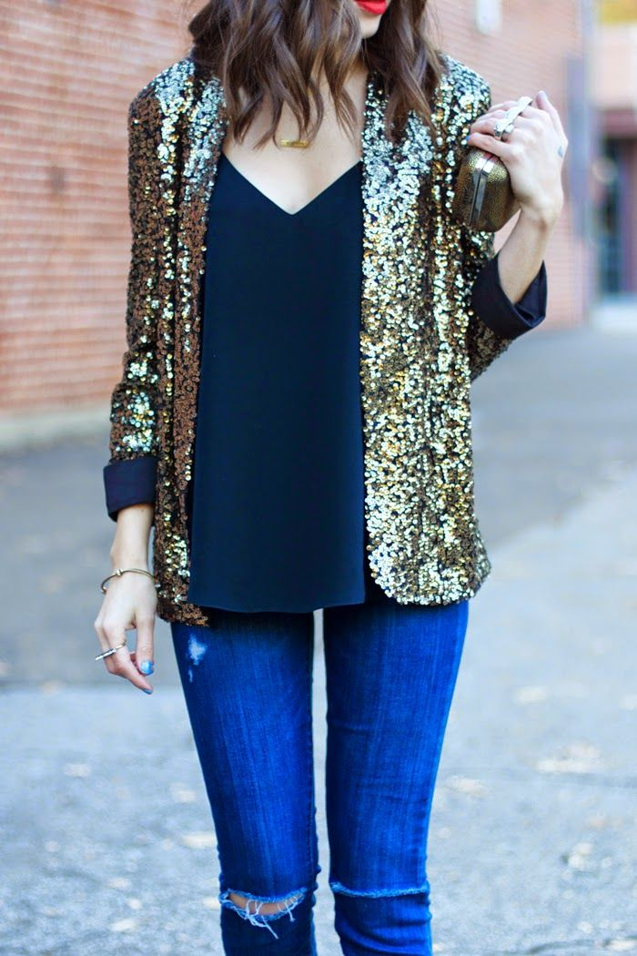 How much fun would this outfit be for me!! A PERFECT black blouse, the most swoon worthy sequin collarless jacket, and a bold red lip - my new favorite accessory <3