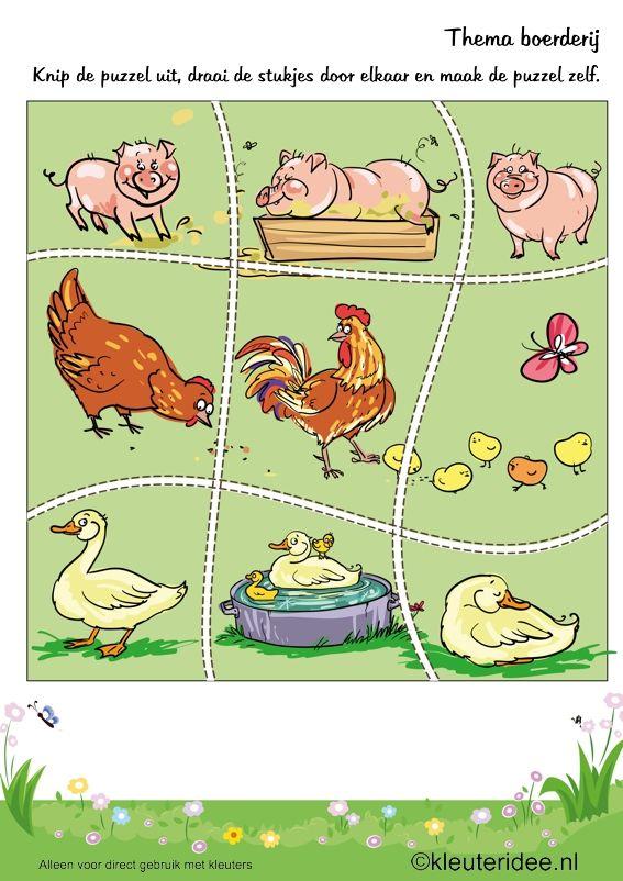 Puzzel boerderijdieren, thema boerderij, kleuteridee , Preschool puzzle, farm theme, free printable.