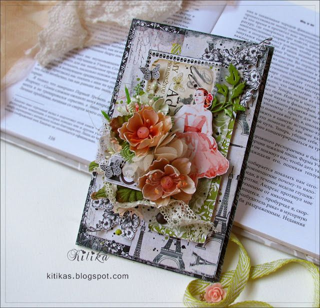 Весенняя открытка с девушкой и цветами: коралловый оливковый