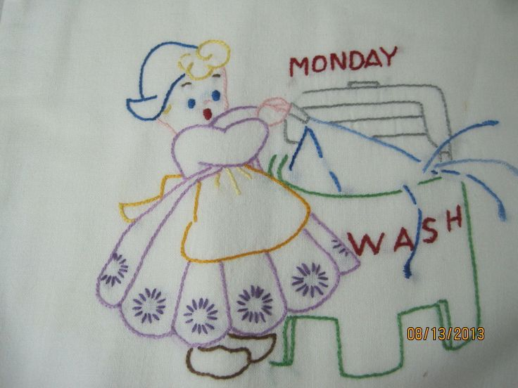Vintage 1950's Set of Embroidered Day of the Week Kitchen ...