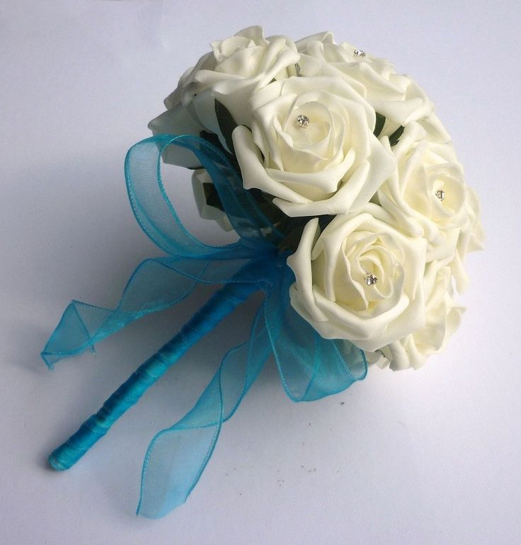 Turquoise ribbon bouquet