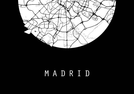 Madrid Map Spain Map Europe Map Black And White Map