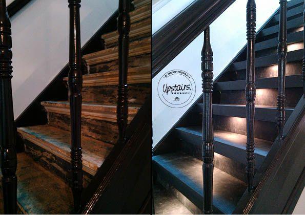 Een trap van leer uit de Stoer Chique collectie by Bertram Beerbaum incl. LED-verlichting