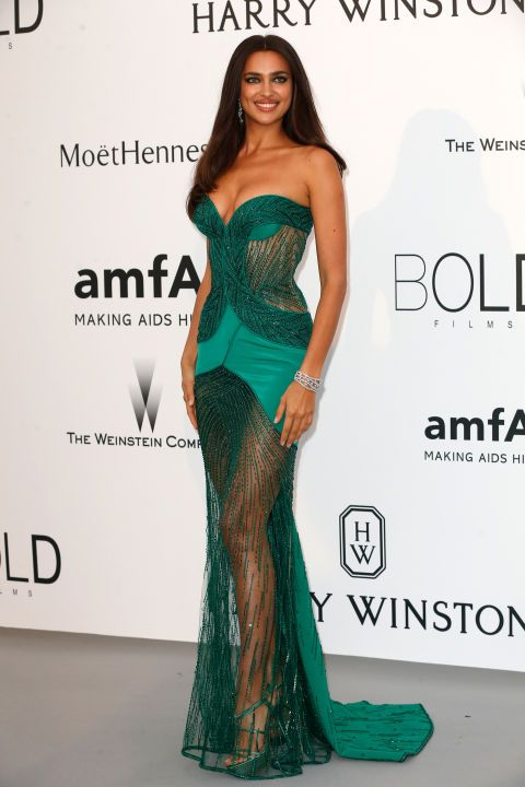 Irina Shayk. See what all the stars wore at the Cannes amfAR gala.