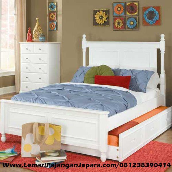 Jual Set Tempat Tidur Anak Sorong & Nakas Minimalis merupakan Produk Mebel asli dari Jepara dengan Desain Minimalis dengan warna Cat Putih Duco