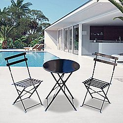 Outsunny 3PC Bistro Set Garden Balcony Folding Round Table Chair (Black)