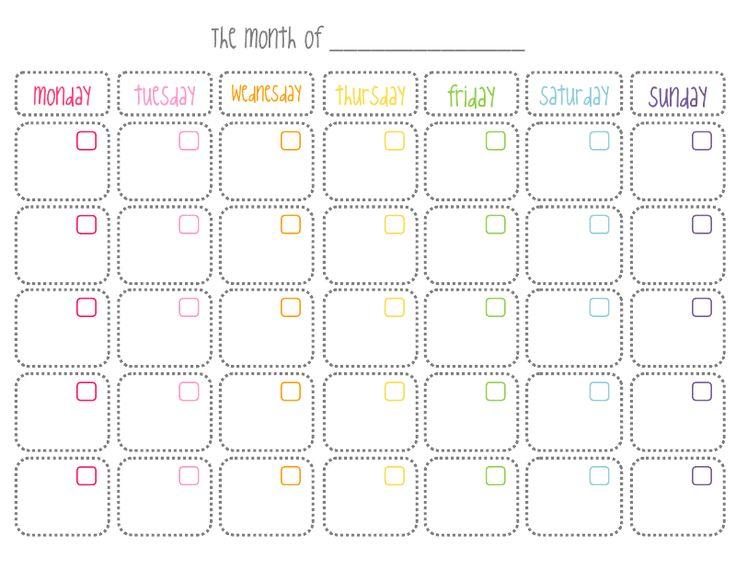 Calendario mensual en blanco, imprimible                                                                                                                                                                                 Más