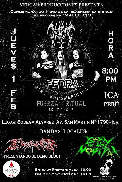 """""""METALHOUSE"""": FEDRA en vivo en ICA, jueves 1 de febrero. MALEFICIO  El programa emitido por Amauta Radio de Ica cumple 1 año de transmisión en señal abierta y lo celebran con un concierto en vivo con las invitadas de Colombia: FEDRA (Black Metal Femenino) + los locales Zesenator + Born in the Moshpit"""