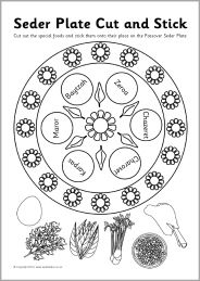 Jewish Seder Plate cut and stick activity (SB3278) - SparkleBox