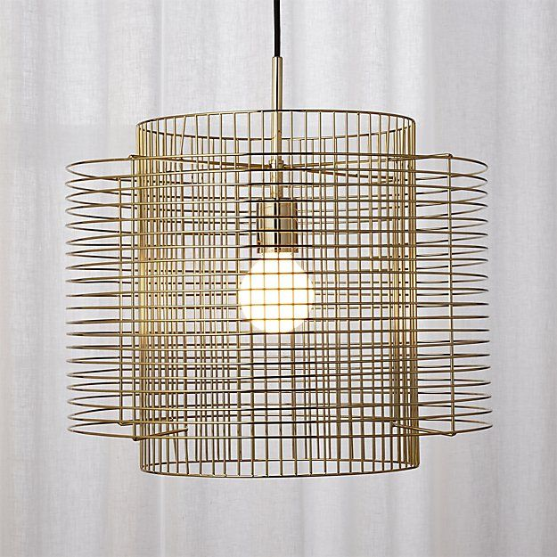 Exceptionnel CB2 Overlap Brass Cage Pendant Light