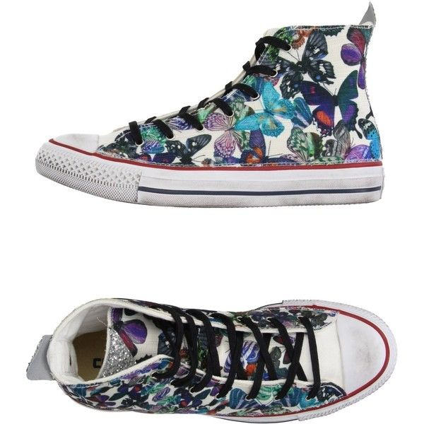 Converse Limited Edition High-tops & Sneakers ($135) ❤ liked on Polyvore featuring shoes, sneakers, purple, converse high tops, glitter shoes, floral flat shoes, floral high top sneakers and purple shoes