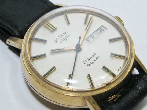 Vintage 9kt solid gold Rotary mens watch with leather strap - automatic with date - working