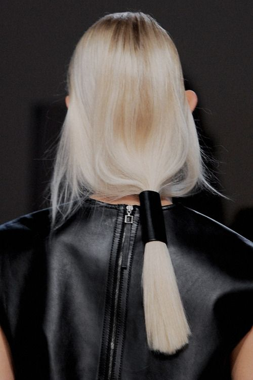 Runway hairstyle for Helmut Lang Spring/Summer 2014 RTW at New York Fashion Week.