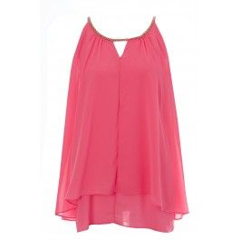 Charlotte Gold Chain Neckline Flared Top Pink BUY IT NOW ONLY £13 AT www.fuchia.co.uk