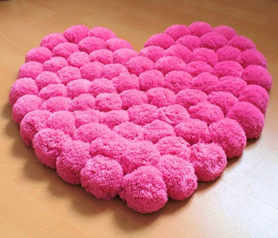 heart rug pink rug pom pom carpet soft area rug kids rug nursery decoration floor. Black Bedroom Furniture Sets. Home Design Ideas
