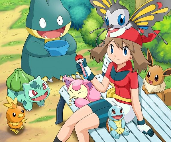 torchic, bulbasaur, munchlax, skitty, beautifly, eevee, squirtle, mai, pokemon