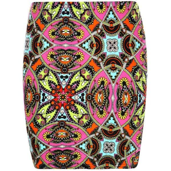 Boohoo Bella Ethnic Print Crepe Mini Skirt (8.75 CAD) ❤ liked on Polyvore featuring skirts, mini skirts, short maxi skirt, tribal print maxi skirt, midi maxi skirt, boho maxi skirt and a line midi skirt