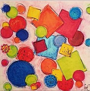 observé les tableaux Colourful forms 2 et 3 et discuté des formes, du fond,etc... Puis ils ont peint un fond avec de la gouache, au rouleau ou à la spatule. Ensuite, ils ont peint à l acrylique des ronds et des carrés découpés dans du carton ( il en faut beaucoup pour qu on puisse les superposer!!!). Ils les ont collés sur le fond à la manière de fpC. Enfin, au marqueur noir, ils ont dessiné les contours des figures, fait des petits points. Et, pour finir, ils ont frotté avec des craies aux
