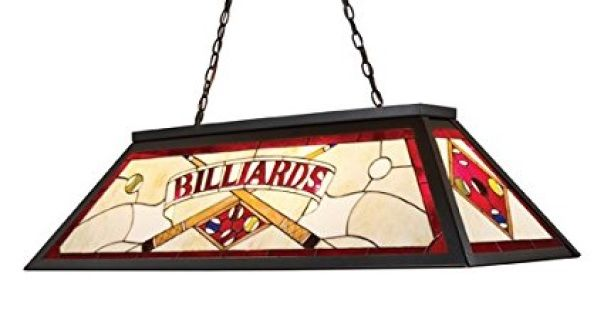 "The Stained Glass Billiard Collection Takes Its Cues From The Game, Sporting Colorful, Detailed Illustrations And Classic Victorian Themes. Use Over A Pool Table Or Kitchen Island For Optimal Illumination.Specifications:  Number of Bulbs: 4 Bulb Base: Medium (E26) Bulb Type: Incandescent or Fluorescent Bulb Included: No Watts Per Bulb: 100 Wattage: 400 Height: 18"" Depth: 44"" Depth: 14"""